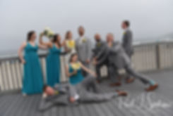 Amber & Justin pose for a formal photo with their wedding party following their June 2018 wedding ceremony at North Beach Clubhouse in Narragansett, Rhode Island.