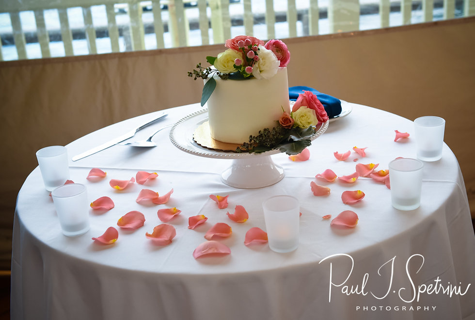A look at the cake prior to Mike & Kate's May 2018 wedding reception at Regatta Place in Newport, Rhode Island.