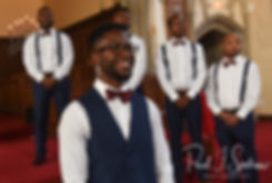 Richardson watches the procession during his August 2018 wedding ceremony at Glad Tidings Church in Quincy, Massachusetts.