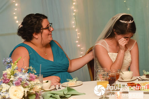 Gianna gets emotional during a toast during her July 2017 wedding reception at Quidnessett Country Club in North Kingstown, Rhode Island.