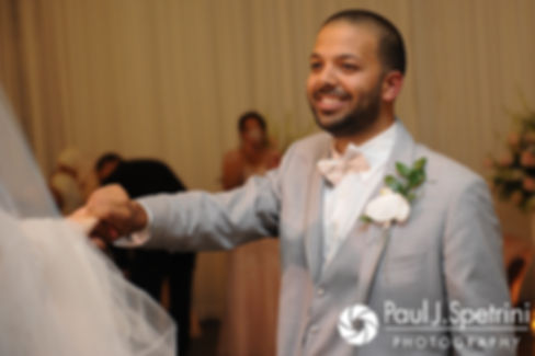 Nashua and Nader share their first dance as husband and wife during their July 2017 wedding reception at Belle Mer in Newport, Rhode Island.