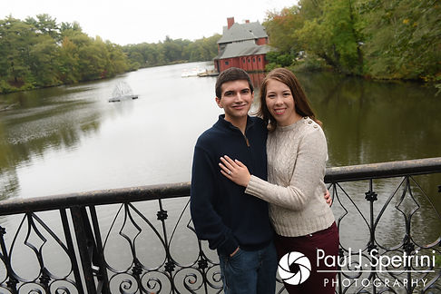 Brian and Sarah pose for a formal photo during their October 2017 engagement session at Roger Williams Park in Providence, Rhode Island.