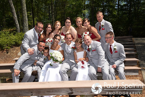 Heather and John pose for a formal photo with their wedding party following their July 2016 wedding ceremony at Crystal Lake Golf Club in Burrillville, Rhode Island.