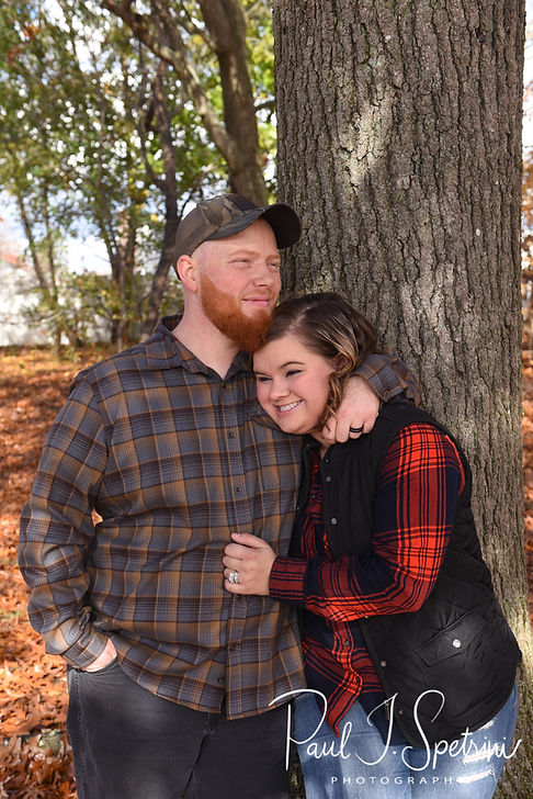 Alyson & Nick pose for a photo during their November 2018 engagement session in Warwick, Rhode Island.
