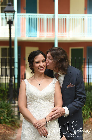 Amanda & Josh pose for a formal photo prior to their October 2018 wedding ceremony at the Walt Disney World Swan & Dolphin Resort in Lake Buena Vista, Florida.