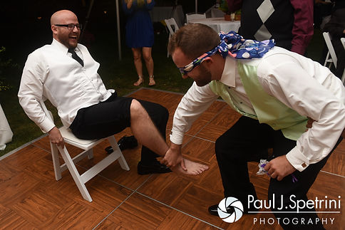 Forrester tricks one of his groomsman during his October 2016 wedding reception in Charlestown, Rhode Island.