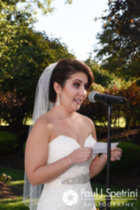 Kristina reads her vows during her October 2017 wedding ceremony at the Villa Ridder Country Club in East Bridgewater, Massachusetts.
