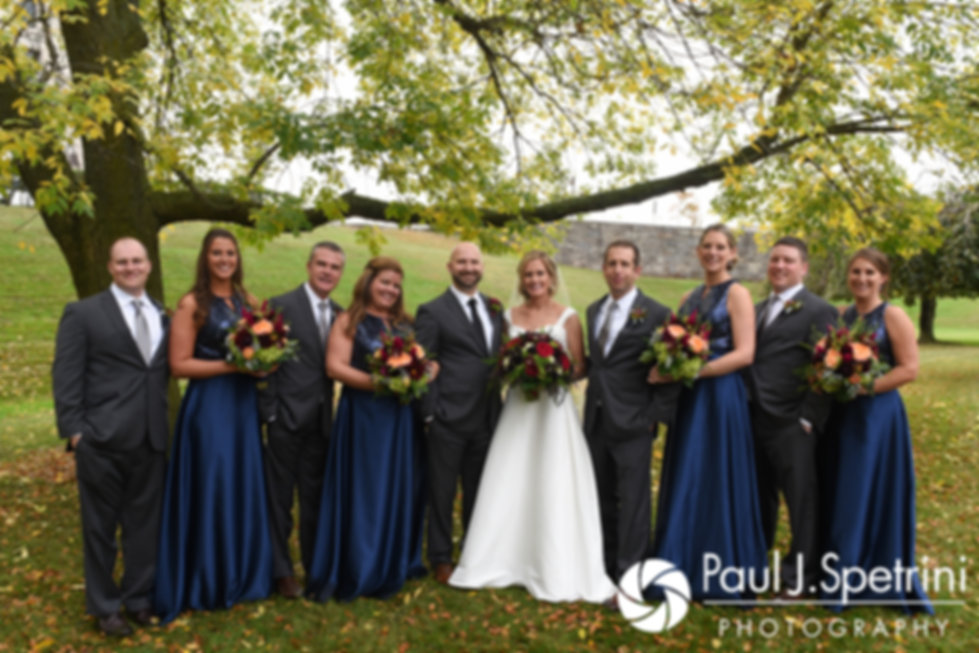 Tricia and Kevin pose for a formal photo with their wedding party at the Rhode Island Statehouse in Providence, Rhode Island.