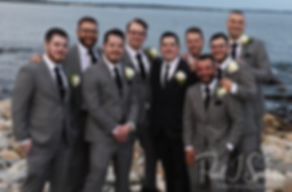 Dan poses for a photo with his groomsmen following his September 2018 wedding ceremony at The Towers in Narragansett, Rhode Island.
