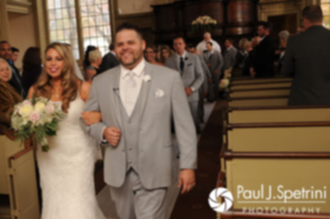 Nathan and Amy walk down the aisle during their November 2017 wedding ceremony at First Unitarian Church of Providence in Providence, Rhode Island.