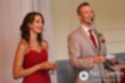 Heather and John's best man and maid of honor give a speech during their July 2016 wedding reception at Crystal Lake Golf Club in Burrillville, Rhode Island.