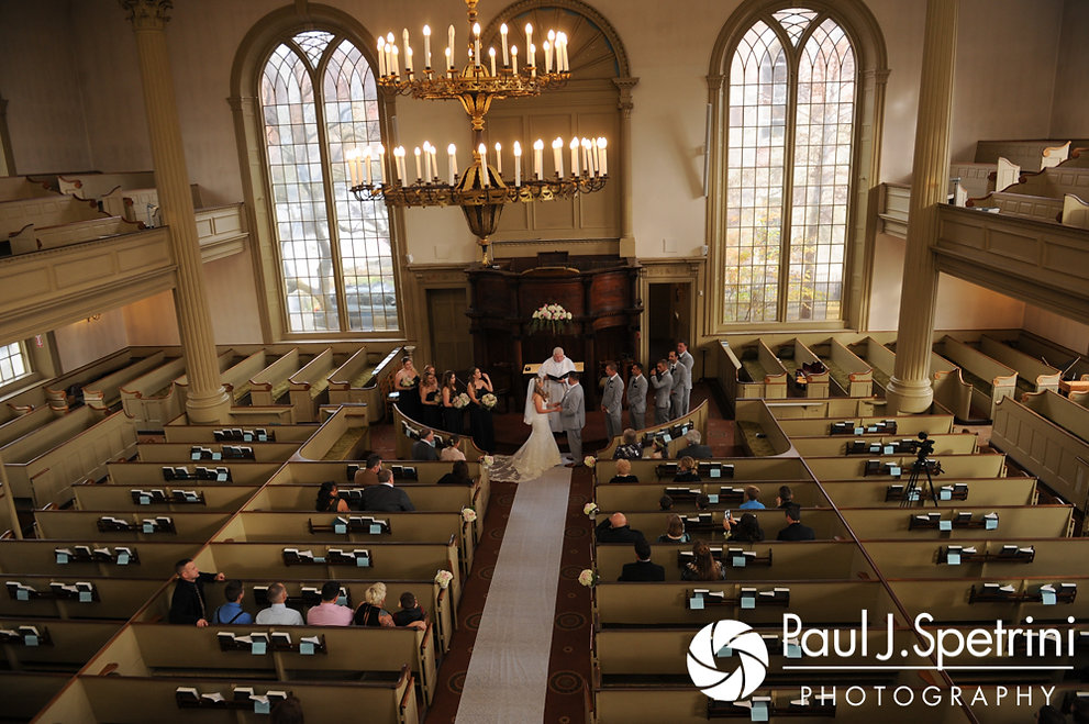 The view from the balcony during Nathan and Amy's November 2017 wedding ceremony at First Unitarian Church of Providence in Providence, Rhode Island.