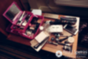 A look at makeup supplies, on display prior to Kristin and Chris' October 2016 wedding ceremony at Exeter Congregational Church in Exeter, New Hampshire.