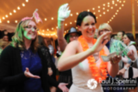 Morgan dances during her April wedding reception at the Fort Adams Trust in Newport, Rhode Island.