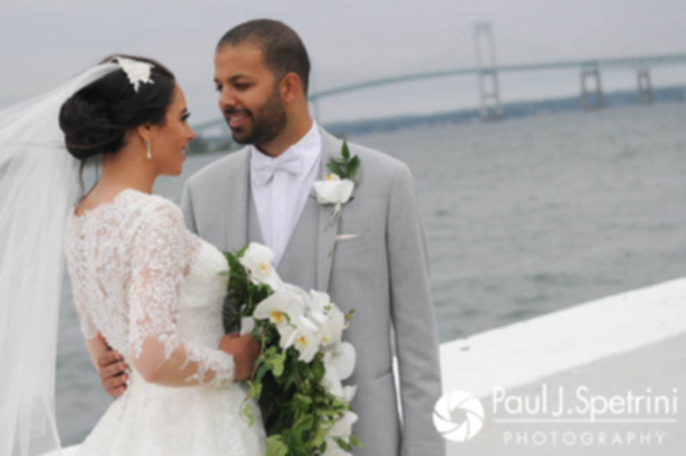 Nashua and Nader pose for formal photos following their July 2017 wedding ceremony at Belle Mer in Newport, Rhode Island.