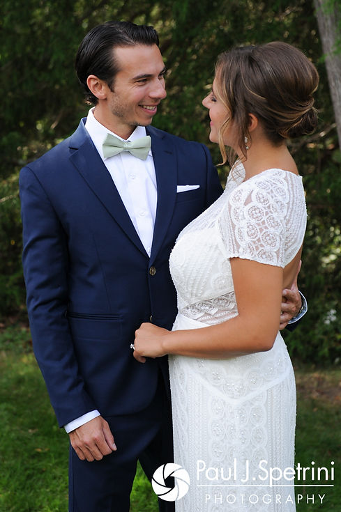 Jennifer and Bruce pose for a formal photo prior to their August 2017 wedding ceremony at The Inn at Mystic in Mystic, Connecticut.