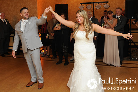 Nathan and Amy dance during their November 2017 wedding reception at Quidnessett Country Club in North Kingstown, Rhode Island.