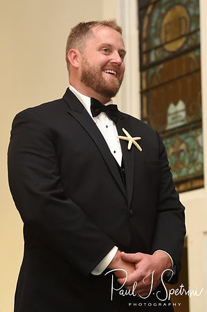 Brandon smiles as he sees Cara for the first time during his November 2018 wedding ceremony at First Baptist Church in Hope Valley, Rhode Island.