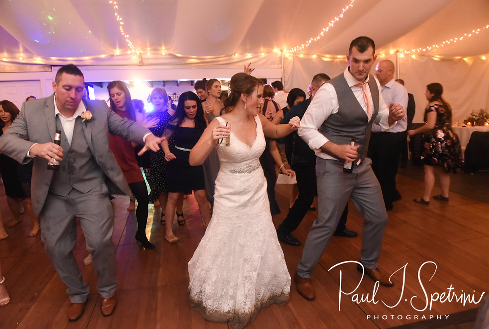 Amanda & Justin dance with guests during their November 2018 wedding reception at Five Bridge Inn in Rehoboth, Massachusetts.