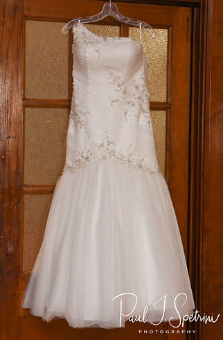A look at Courtnie's wedding dress prior to her August 2018 wedding ceremony at Glad Tidings Church in Quincy, Massachusetts.