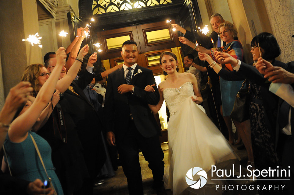 Dan and Simonne exit from their June 2016 wedding in Providence, Rhode Island.