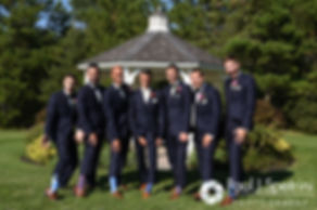 Alex poses for a formal photo with his groomsmen prior to his August 2016 wedding reception at LeBaron Hills Country Club in Lakeville, Massachusetts.