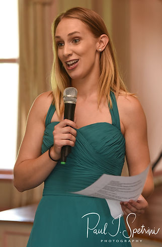 The maid of honor gives a speech during Danielle & Mark's August 2018 wedding reception at the Roger Williams Park Casino in Providence, Rhode Island.