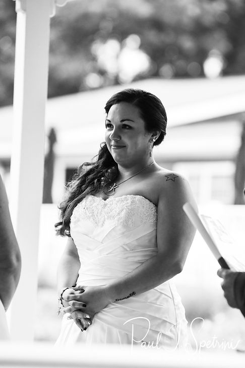 Laura looks at Marijke during her June 2018 wedding ceremony at Independence Harbor in Assonet, Massachusetts.