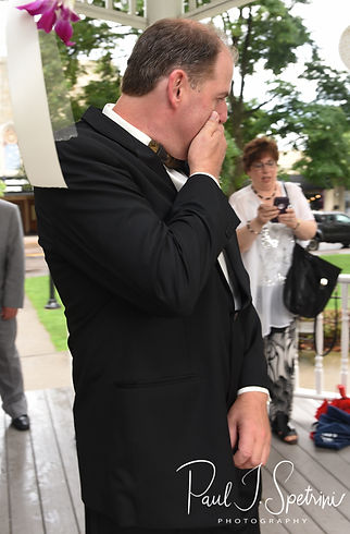 Bob gets emotional after seeing Patti during his August 2018 wedding ceremony at the Walter J. Dempsey Memorial Bandstand in Norwood, Massachusetts.