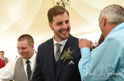 Ethan talks to guests prior to his August 2018 wedding ceremony at a private residence in Sterling, Connecticut.