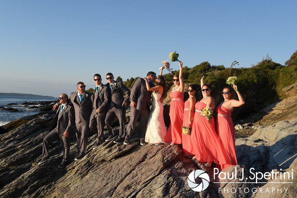 Marissa and Paul pose for a formal photo with their wedding party following their September 2016 wedding ceremony at Beavertail Lighthouse in Jamestown, Rhode Island.