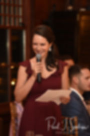 The maid of honor gives a toast during Meghan & Brian's September 2018 wedding reception at Squantum Association in Riverside, Rhode Island.