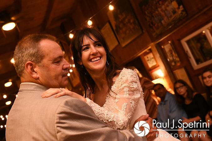 Samantha and her father dance during her October 2017 wedding reception at the Golden Lamb Buttery in Brooklyn, Connecticut.