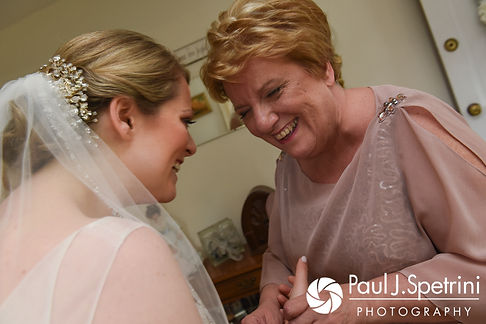 Melissa and her mother share a laugh during her May 2017 bridal prep session at her mother's home in Bristol, Rhode Island.