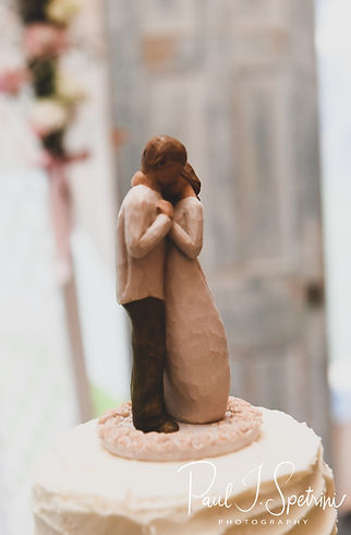 A look at the cake topper, on display during Karolyn & Ethan's August 2018 wedding reception at a private residence in Sterling, Connecticut.