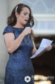 Amy's maid of honor gives a speech during her and DJ's June 2016 wedding reception at Aldrich Mansion in Warwick, Rhode Island.