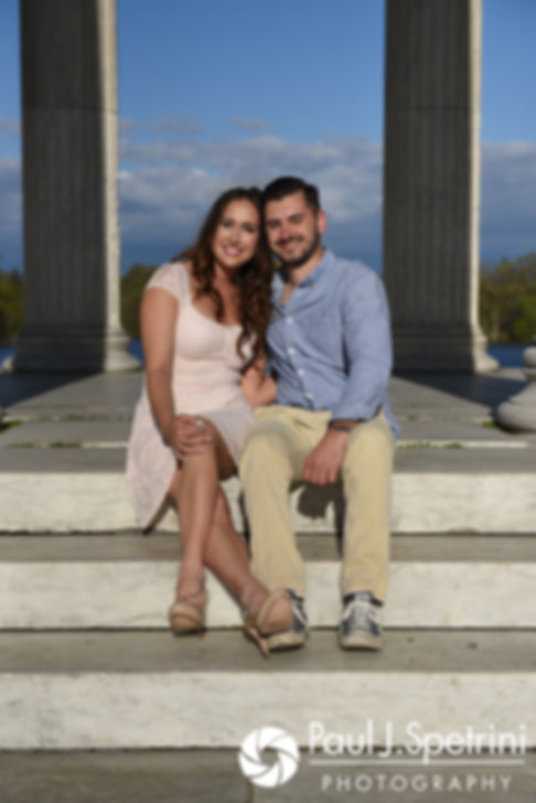 Stacey and John pose for a photo at the Temple of Music at Roger Williams Park in Providence, Rhode Island during their May 2017 engagement shoot.