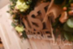 A sign is shown during Amanda & Justin's November 2018 wedding reception at Five Bridge Inn in Rehoboth, Massachusetts.
