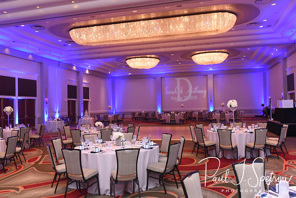 A look at the ballroom prior to Sarah & Anthony's October 2018 wedding reception at The Omni Hotel in Providence, Rhode Island.