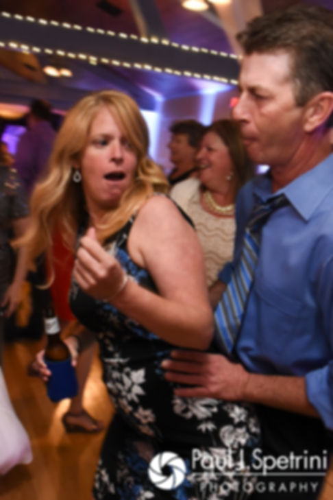 Guests dance during Scott and Toni's August 2017 wedding reception at Crystal Lake Golf Club in Mapleville, Rhode Island.