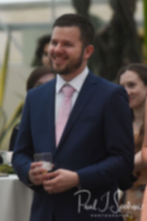 Gary listens to a speech during his May 2018 wedding reception at the Roger Williams Park Botanical Center in Providence, Rhode Island.
