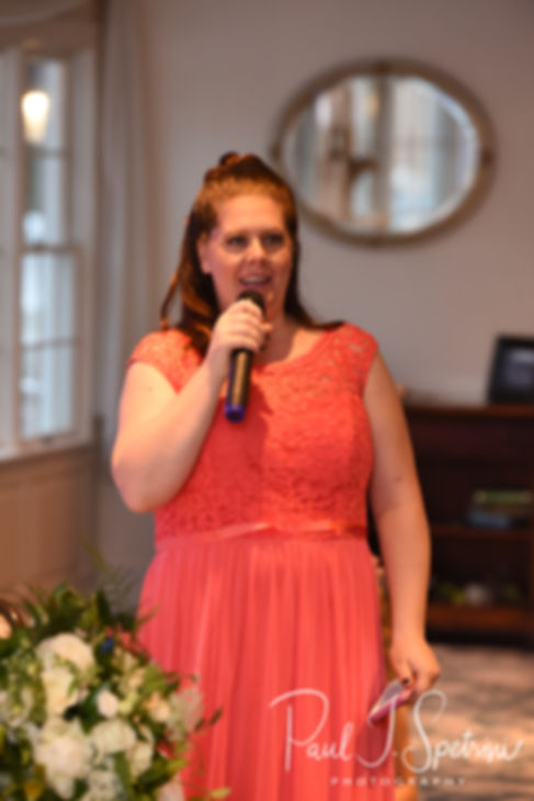 Laura's maid of honor gives a toast during Laura & Marijke's June 2018 wedding reception at Independence Harbor in Assonet, Massachusetts.