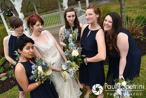 Ellen and her bridesmaids pose for formal photos following their May 2016 wedding at Bittersweet Farm in Westport, Massachusetts.