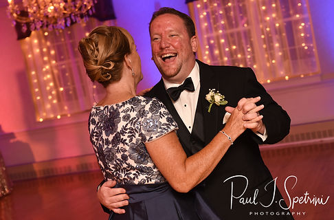Patrick and his mother dance during his September 2018 wedding reception at Valley Country Club in Warwick, Rhode Island.