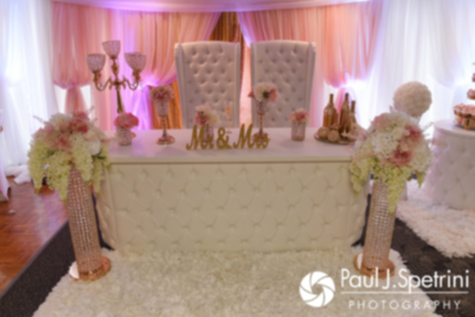 A look at the sweetheart table during Lucelene and Luis' June 2017 wedding reception at Al's Waterfront Restaurant in East Providence, Rhode Island.