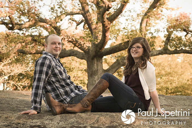 Kelly & Zach pose for a formal photo during their October 2017 engagement session at Goddard Park in East Greenwich, Rhode Island.