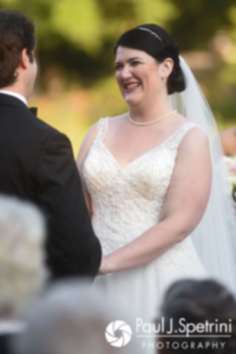 Allison smiles during her September 2017 wedding ceremony at the Roger Williams Park Casino in Providence, Rhode Island.
