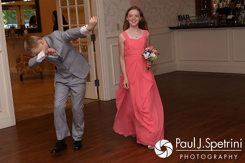 Members of the wedding party enter during Michelle and Eric's May 2016 wedding at Hillside Country Club in Rehoboth, Massachusetts.