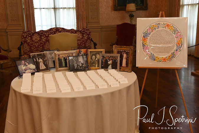 A look at the placecards, shown on display during Helen & Mike's September 2018 wedding reception at the Rosecliff Mansion in Newport, Rhode Island.