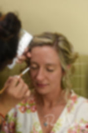 Nicole has her makeup applied during her bridal prep session at the Publick House Historic Inn in Sturbridge, Massachusetts.